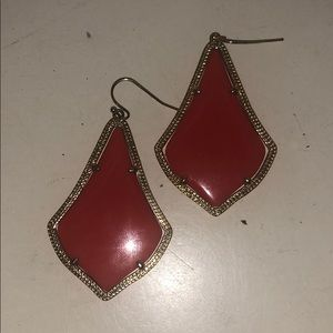 Kendra Scott Red and Gold Alexandra Earrings